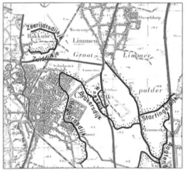 Op een topografische kaart zijn de dijken in Castricum weergegeven. Het verloop van de Brakersdijk vanaf het Schupstet naar de Limmerkoog is duidelijk te zien.