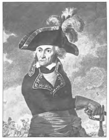 De Franse opperbevelhebber Brune tijdens de 'Slag bij Castricum'.