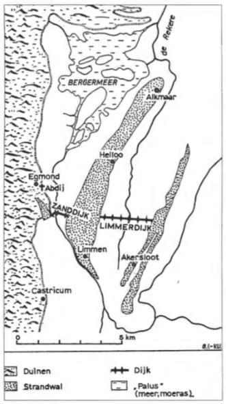 Schetskaart van de omgeving van de abdij van Egmond omstreeks 1100. Zonder de Limmerdam zou de Zanddijk geen enkel nut gehad hebben. Het opdringende water vanuit het zuiden zou zonder de Limmerdam toch via de oostkant van de strandwal Alkmaar-Limmen de Egmondse gronden kunnen bereiken.