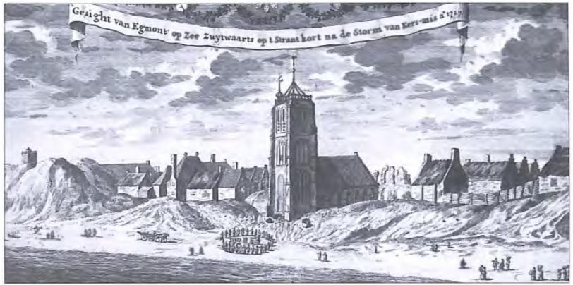 """""""Gesight van Egmont op Zee zuytwaarts op 't Strant kort na de storm van Kers-mis. Anno 1717."""" (Gravure van Petrus Schenk)."""