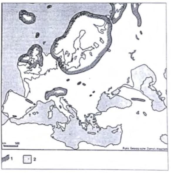 Verbreiding in Europa van landijs en gletsjers gedurende het Weichselien. (Zagwijn 1975)