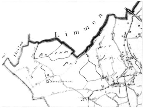 Fragment van de kaart van het kanton Beverwijk, getekend in 1844.
