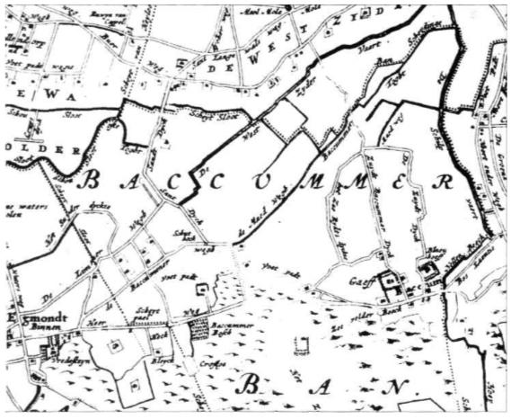 De Baccummer Ban (gemeente Bakkum). Fragment van de kaart van het Hoogheemraadschap van de Uitwaterende Sluizen in Kennemerland en West- Friesland, getekend in 1745 door Johannes Dou.