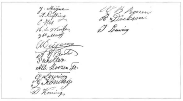 Handtekeningen van de inwoners van Noord-Bakkum in 1917.