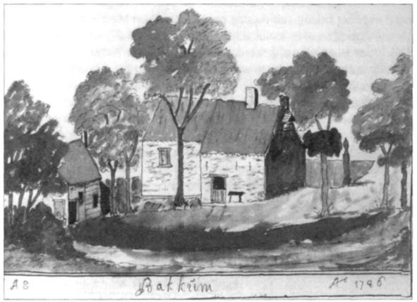 De vroegere kapel, zoals Andries Schoemaker haar schetste in 1726. ('s-Gravenhage, Koninklijke Bibliotheek).