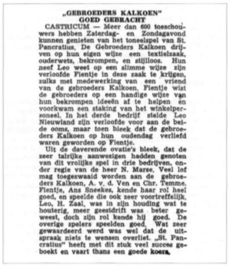 Een lovende kritiek over het stuk 'Gebroeders Kalkoen' uit 1955.