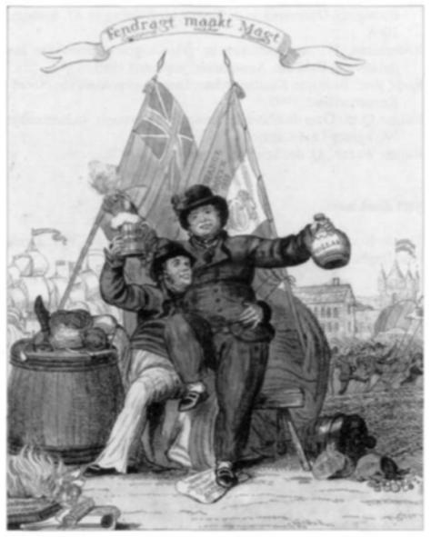 Op deze prent vieren een Brit en een Hollander broederlijk het einde van de Franse tijd met zijn handelsbeperkingen: 'De zee is open en de koophandel herleeft'.