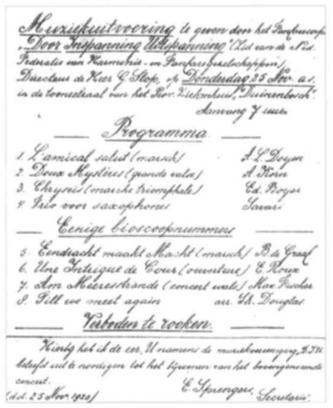 Uitnodiging in zeer fraai schoonschrift voor een uitvoering van D.I.U. op 25 november 1920.