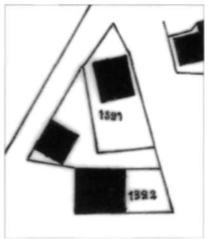 Het huizenbezit van bakker Jan Adam van Soll, zoals aangegeven op een kadasterkaart uit 1874. Het pand met kadasternummer 1391, in de punt van de driehoek waar Dorpsstraat en Overtoom bij elkaar komen, is gelegen op de plaats van de huidige slagerij Van der Meer.