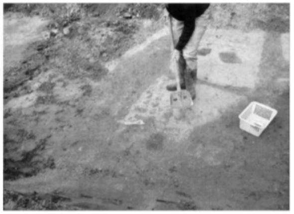 Zorgvuldig wordt de bodem afgeschaafd en iedere vondst zorgvuldig bekeken.
