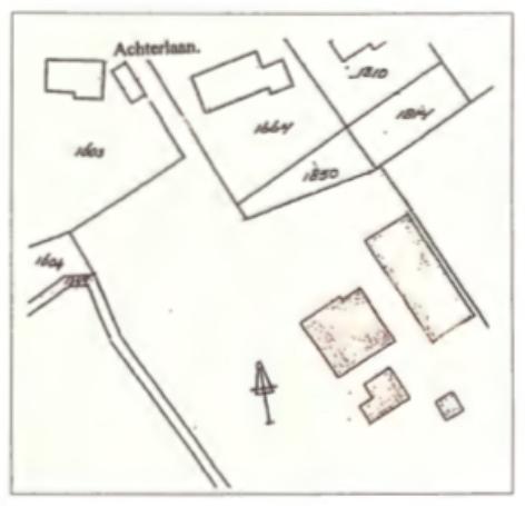 De huidige ligging aan de Achterlaan.