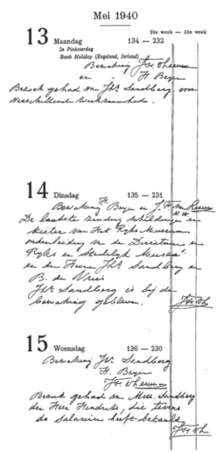 Aantekeningen in de logboeken van de kluis op 13, 14 en 15 mei 1940. De aankomst van de Nachtwacht wordt slechts aangeduid met 'NW'.