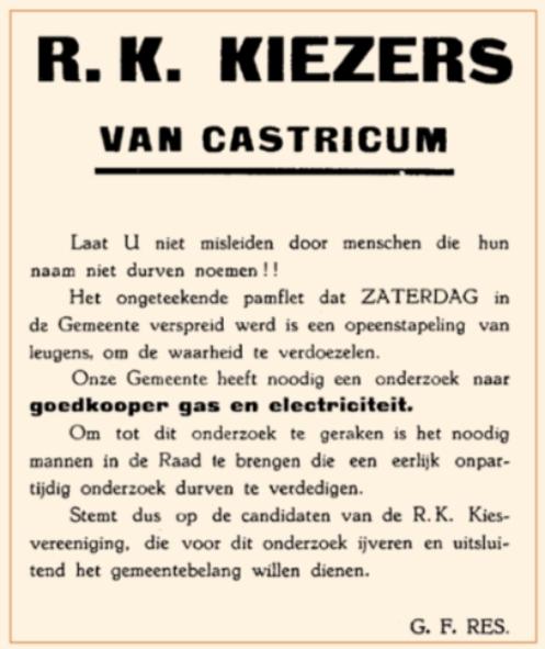 Een van de pamfletten in de heftige strijd tussen voor- en tegenstanders voor aansluiting bij het PEN en het gasbedrijf Beverwijk.
