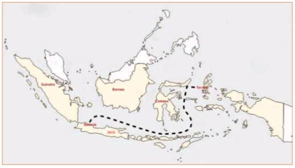 Kaartje Nederlands Indië. De stippellijn geeft de route aan van Batavia naar Ternate. Daar waar de kust van het eiland Celebes wordt aangedaan, ligt baai Castricum.