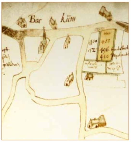 Kaartje van omstreeks 1594 met bezittingen van het Burgerweeshuis. Hierop is het Weezenkroftje ingetekend ten noorden van de Bleumerweg en grenzend aan de Heereweg. Het kaartje is getekend door Pieter Bruin en laat Zuid-Bakkum zien met onder andere de Cunerakapel aan de Heereweg op de hoek met de Achterlaan (Archief Burgerweeshuis, Stadsarchief Amsterdam).