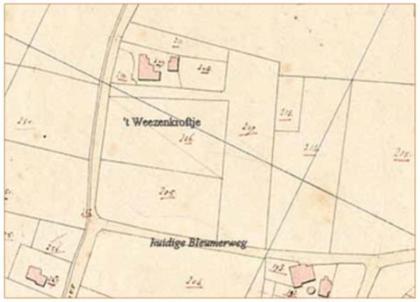 Kaart uit 1822 met daarop aangegeven het Weezenkroftje.