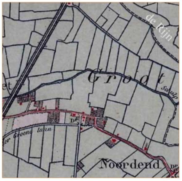 Kaartje uit 1879 met daarin aangegeven het perceel 'Rijn', langs de grens met Bakkum aan de kant van Limmen.