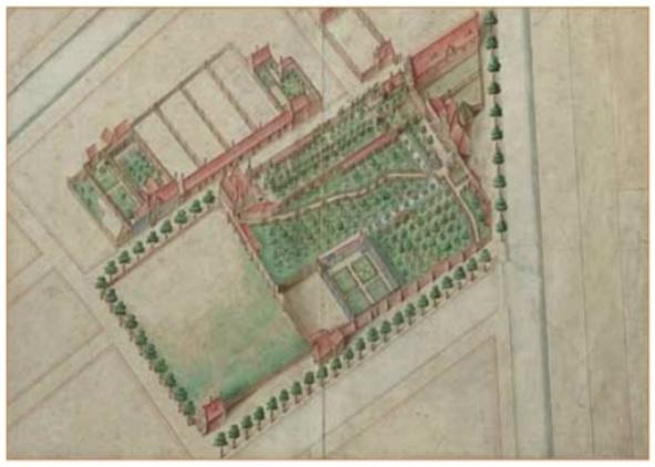 Het vierkante kloostercomplex was gelegen buiten de stadsmuren en van de buitenwereld afgeschermd door muren en sloten. Het complex werd omgeven door uitgestrekte landerijen. De plaats is nu te vinden in de Jordaan bij de Karthuizerstraat.