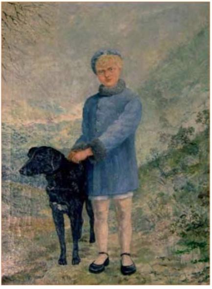 Jantje Blei, met de hond van de buren geportretteerd, in 1938 door Henri Braakensiek aan de hand van een foto.