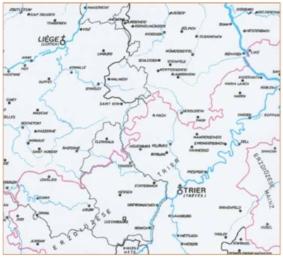 Fragment 2 van een kaartje met de indeling van de bisdommen, waaronder het aartsbisdom Trier met het Moezeldal en de plaatsen Koblenz en Trier.