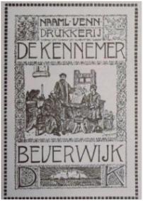 Het vignet van Drukkerij De Kennemer die gevestigd was aan de Peperstraat in Beverwijk.