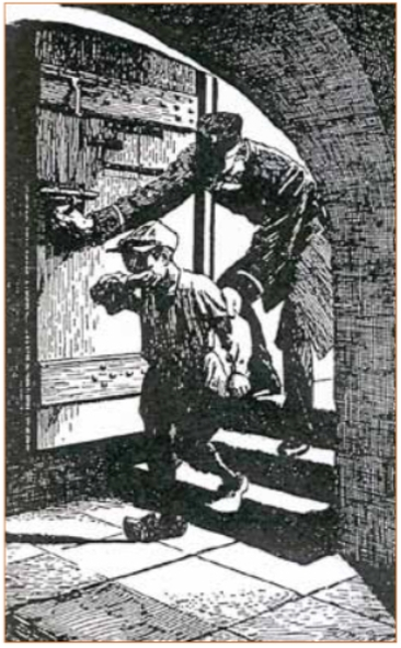 Veldwachter Flipse (van Dik Trom) brengt een arrestant in het cachot.