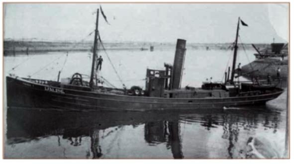 De IJmuider stoomtrawler Texel die in 1915 met tien opvarenden, waaronder matroos Arie Zwart uit Castricum, is vergaan.
