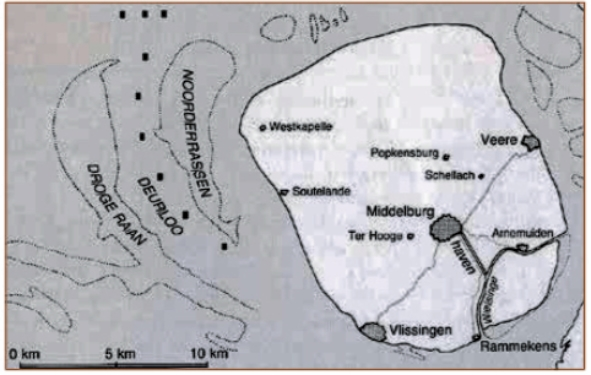 Walcheren en fort Rammekens, waarvandaan de schepen van de Kamer Zeeland vertrokken.