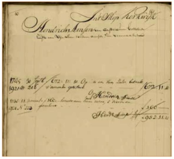 Pagina uit het scheepssoldij boek van de Amsterdamse Oost-Indiëvaarder de Kerkwijk met een deel van de gegevens van Hendrik Amsen.