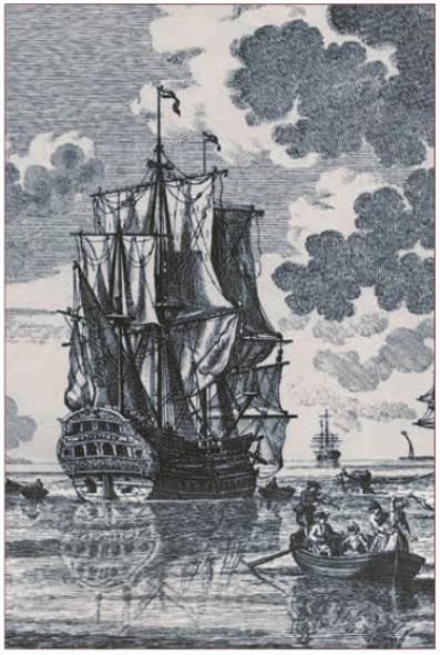 Het schip Castricum, gegraveerd door Petrus Schenk (1660-1711) naar tekeningen van Sieuwert van der Meulen.