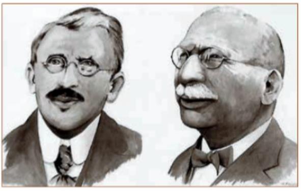 Links Eli Heimans, rechts Jac. P. Thijsse, ca 1905.