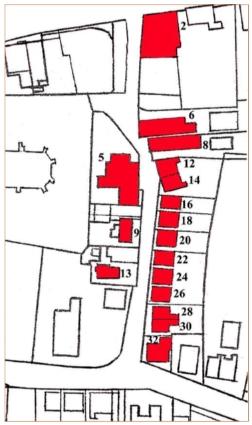 Huisnummers en panden van de Schoolstraat.
