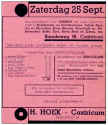 Het assortiment en de aanbiedingen bij de opening van de winkel op 25 september 1937.