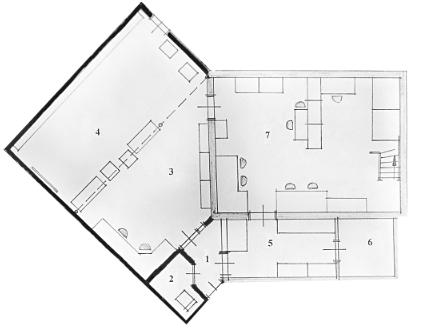 Plattegrond Geversweg 1b volgens bouwtekening van 2002. De uitbreiding omvatte de ruimten 1 tot en met 4.