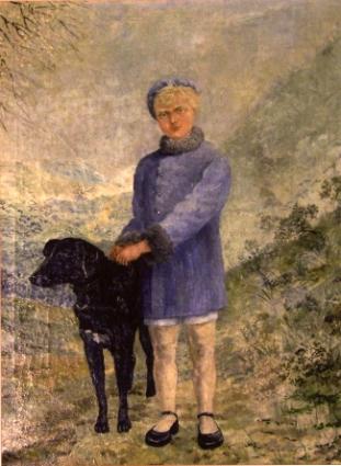 Jantje Blei, geportretteerd met de hond van de buren in 1938 door Henri Braakensiek aan de hand van een foto.