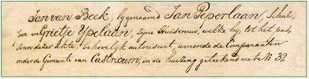 Jan Peperlaan, schulper en wonende in Castricum vermeld in een notariële akte in 1823.