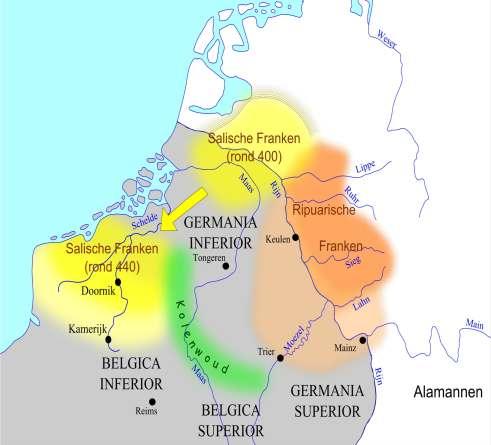 Kaart met gebieden Salische Franken.