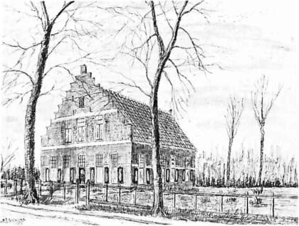 Tekening van Sijf Portegies van Huize Maja. Het huis werd in 1919 gebouwd in opdracht van de heer J.P. Kraak. In 1929 werd het voor de eerste keer gedeeltelijk aangepast tot café en pension. Nu ken nen we het als hotel-rest. Kornman.