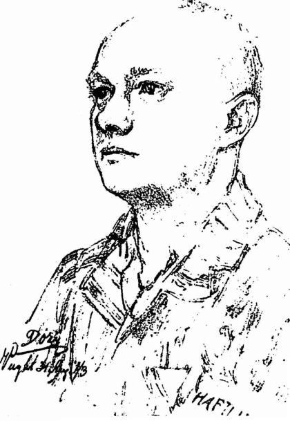 Dokter Leenaers gevangenisarts in het concentratie kamp Vught (tekening van Reinhart Dozy)