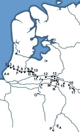 De Romeinse grens of limes-zone langs de Rijn. 1. Het fort Flevum (Velsen) Hier is ook een haven gevonden.