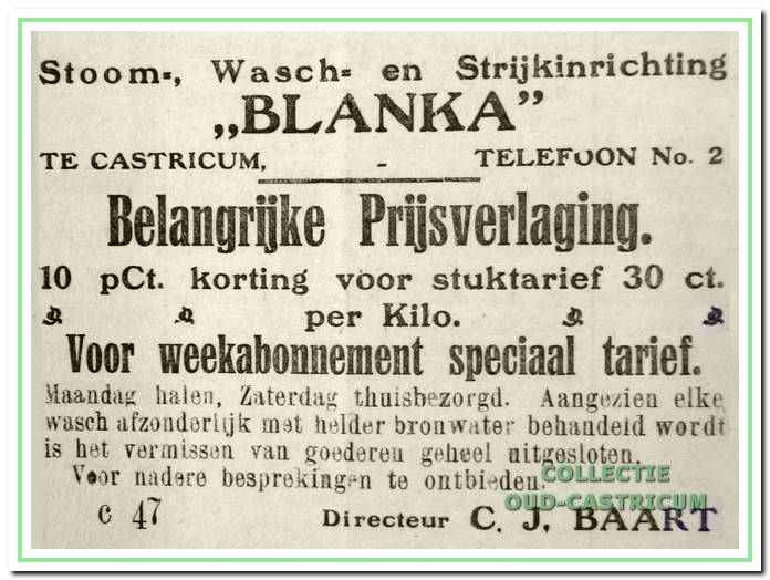 Een advertentie in het Castricumse Weekblad in 1920.