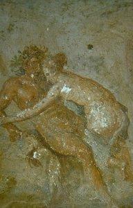Fresco met een erotische scène