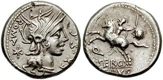 Munt van Marcus Sergius Silus uit de late 2de eeuw v.C.