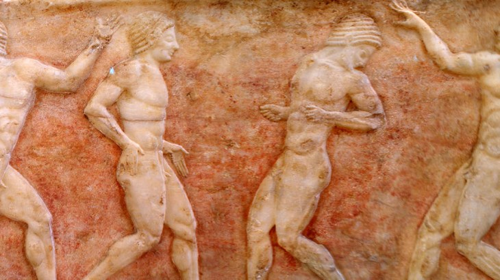 """Ball Players"" in het National Archeological Museum in Athene."