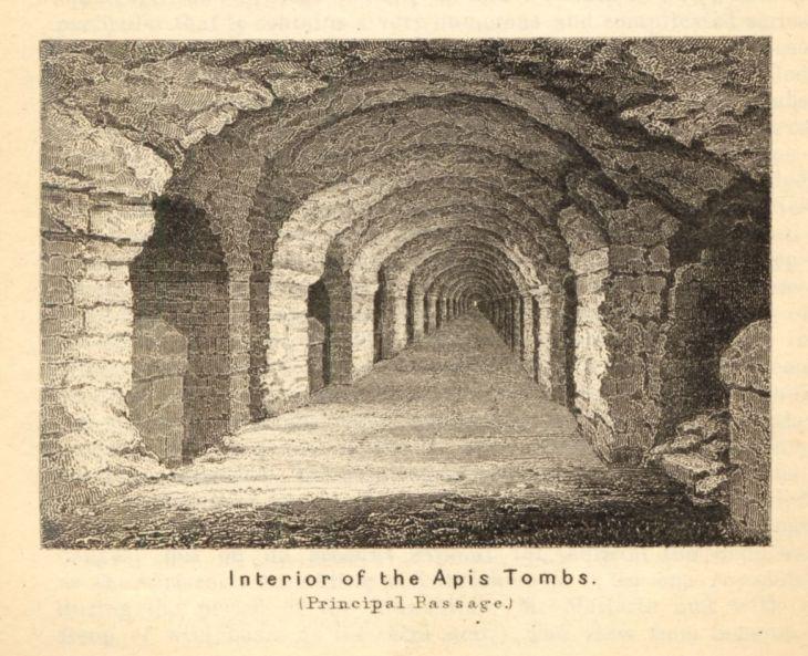 Schets van de ondergrondse gang in het Serapeum (van Saqqara)