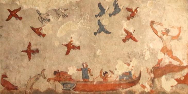 Dit reliëf uit het graf met de toepasselijke naam Tomba della Caccia e Pesca beeldt onder andere vissers af