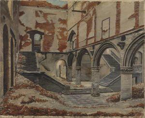 Zicht op de verwoeste Lakenhal, met daarin de universiteitsbibliotheek, in Leuven in 1915