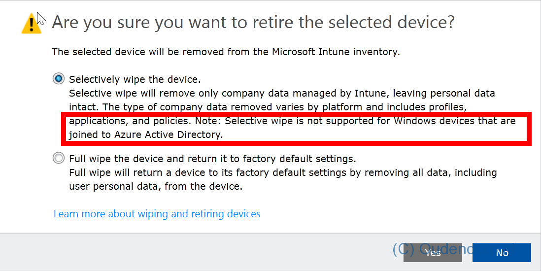 Selective Wipe is not working on Azure AD Joined device