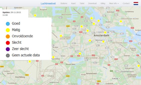 Deze website toont de gemeten luchtkwaliteit op meetpunten in Nederland en de berekende luchtkwaliteit in de vorm van kaarten.