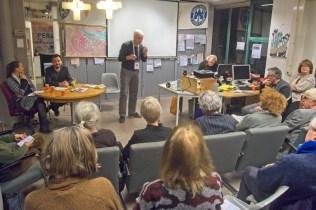 Joyce van Heijningen (Partij vd Dieren), Zeeger Ernsting (GroenLinks) en Michel van Wijk kandidaat Stadsdeelcommissie Centrum